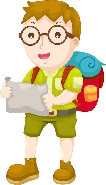 Kid wandelen vector Premium Vector