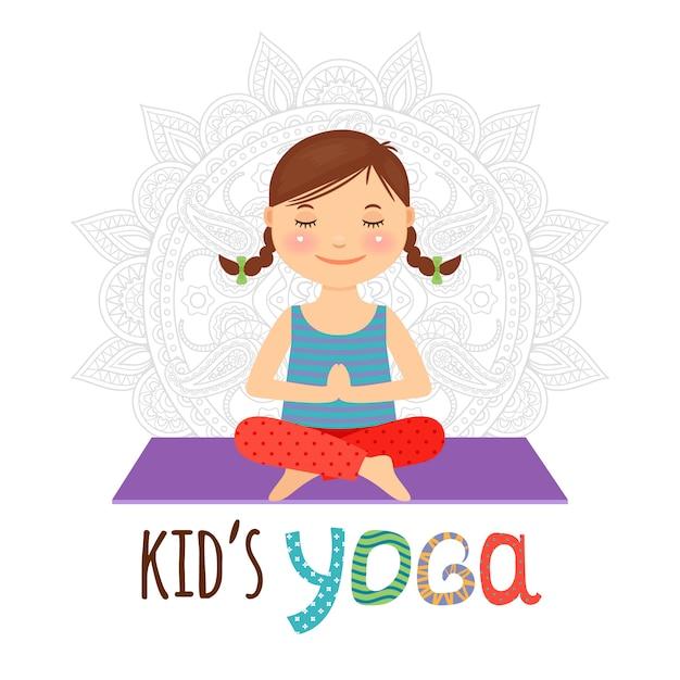Kid yoga-logo Premium Vector