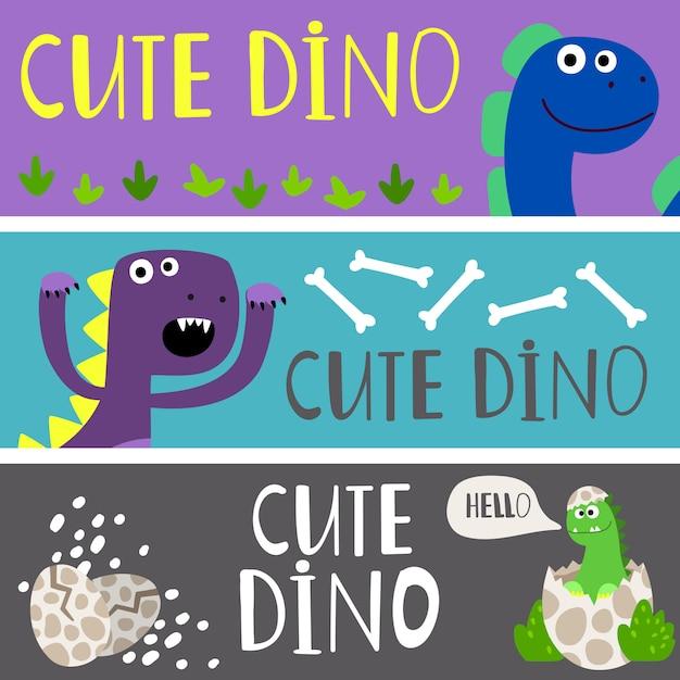 Kids banners sjabloon met schattige cartoon dino's set Premium Vector