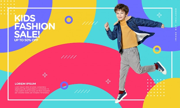 Kids fashion banner Premium Vector