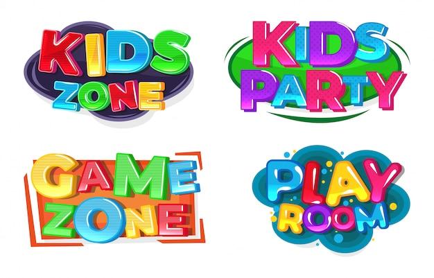 Kids game zone logo. speel kamer. Premium Vector