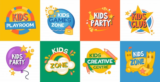 Kids game zone platte icoon collectie Gratis Vector