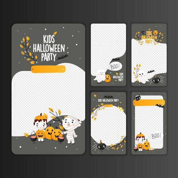 Kids halloween party-sjablonen voor instagram-verhalen Premium Vector
