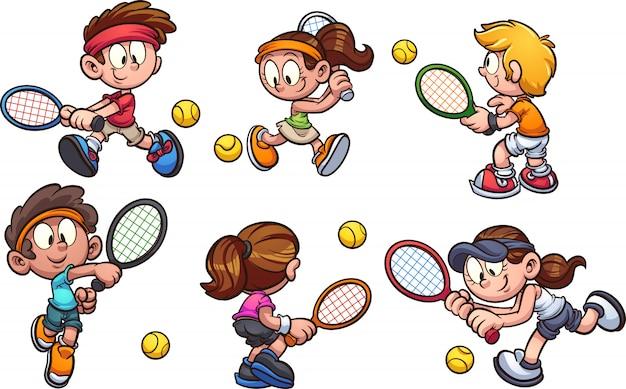 Kids_playing_tennis Premium Vector