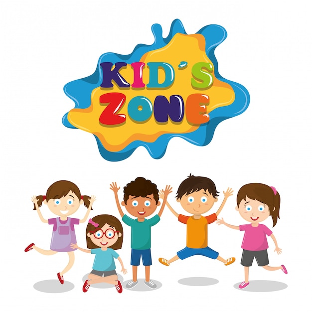 Kids zone children entertaiment cartoons Gratis Vector