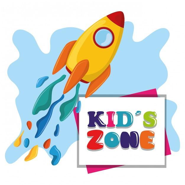 Kids zone children entertaiment cartoons Gratis Vector