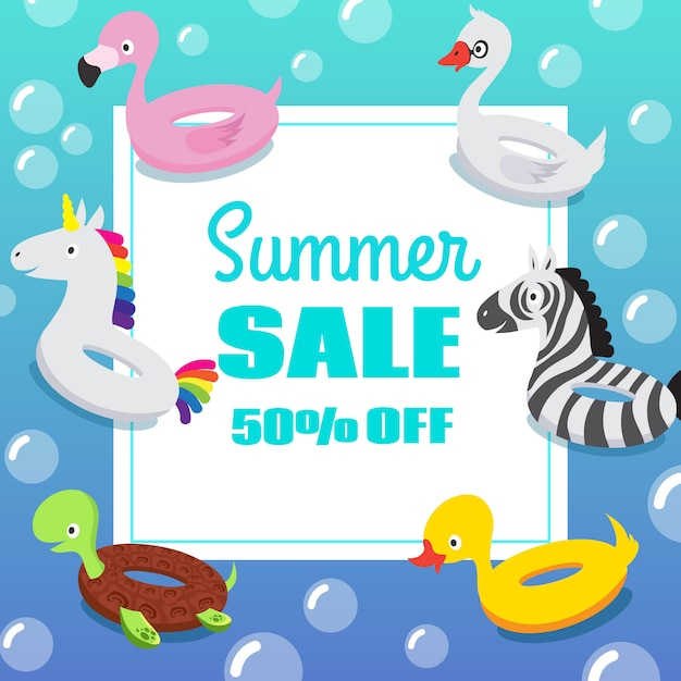 Kids zwembad partij uitnodiging poster met opblaasbare dier rubber zwemmen float ringen Premium Vector