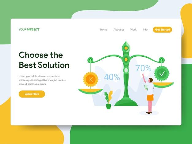 Kies de beste oplossing voor de website-pagina Premium Vector
