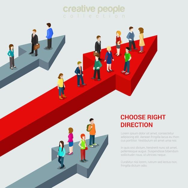 Kies de juiste oplossing 3bestemming alternatief Gratis Vector