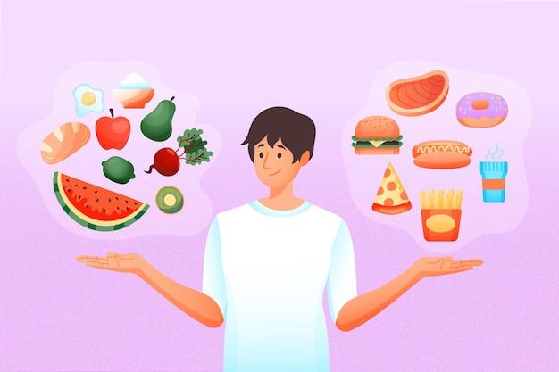 Kiezen tussen gezond of ongezond eten Gratis Vector