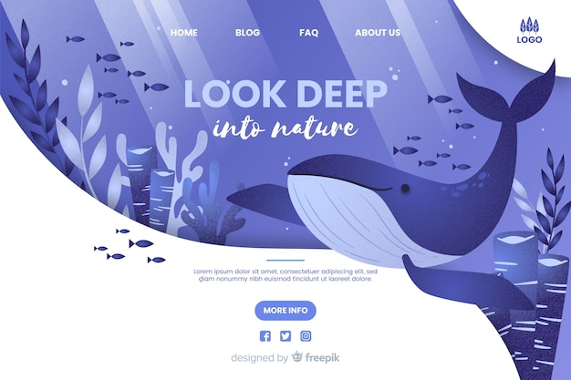 Kijk diep in de natuur websjabloon Gratis Vector