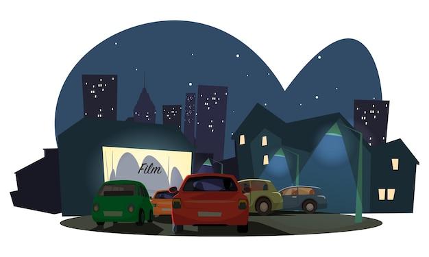 Kijken naar film buiten illustratie, rijden in de bioscoop op de achtergrond van de moderne stad. Premium Vector