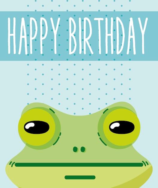 Kikker Gelukkige Verjaardagskaart Leuke Cartoon Vector Premium