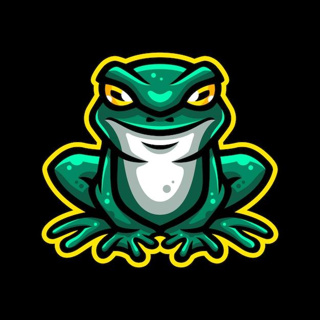 Kikker mascotte logo Premium Vector