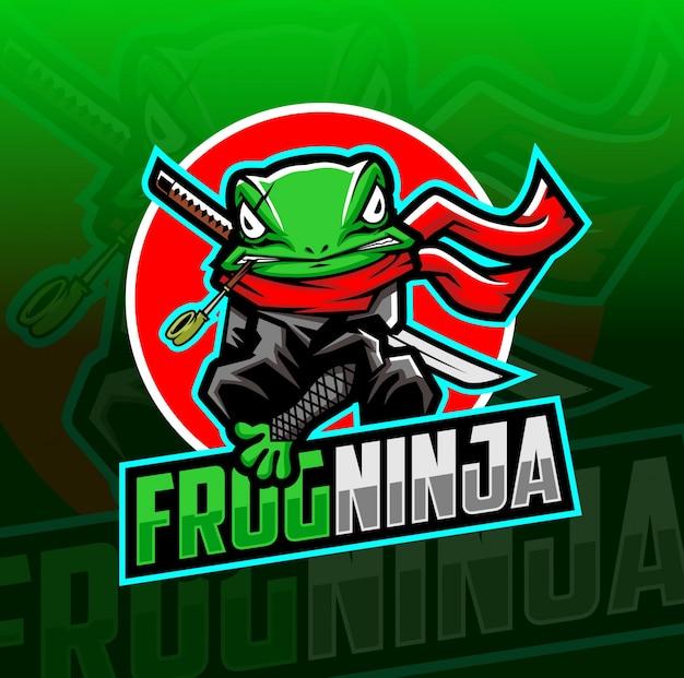 Kikker ninja mascotte esport logo Premium Vector