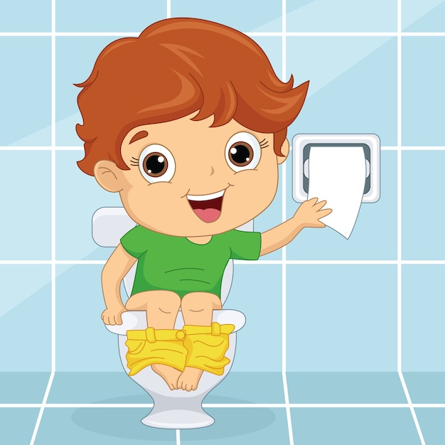 Kind Op Toilet.Kind Bij Toilet Vector Premium Download