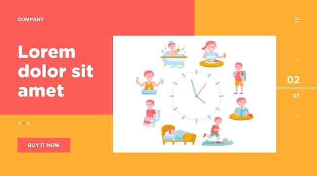 Kind dagelijkse routine klokken vlakke afbeelding. Gratis Vector