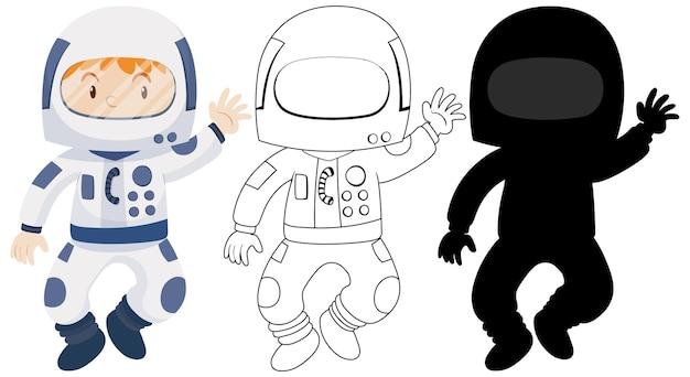 Kind draagt astronaut kostuum met zijn omtrek en silhouet Gratis Vector