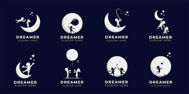 Kind droom logo ontwerp illustratie collectie - dreamer logo Premium Vector