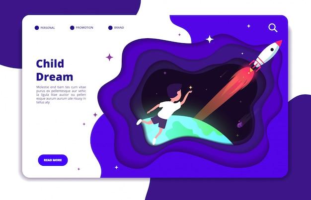 Kind droomt concept. de verbeelding van kinderen met ruimtereizende jongen en aarde en ruimtependelraket in de landingspagina van de nachthemel Premium Vector