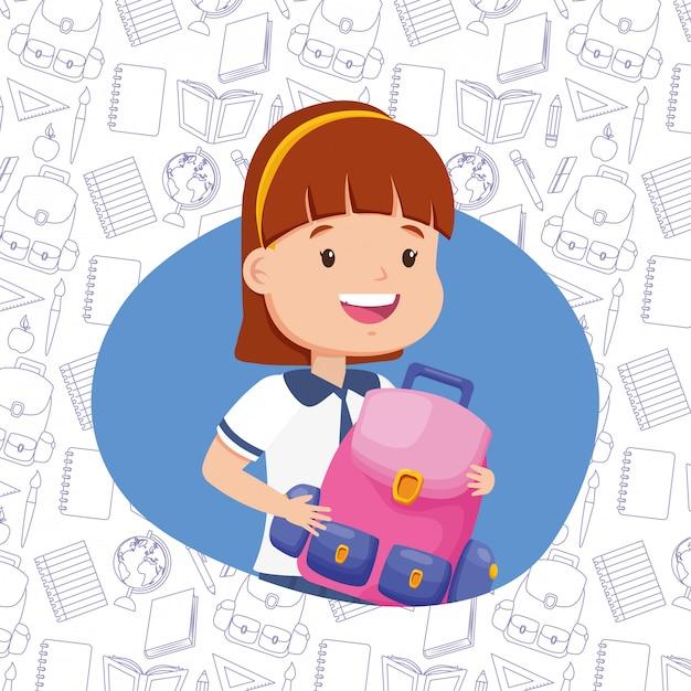 Kind in terug naar school Gratis Vector