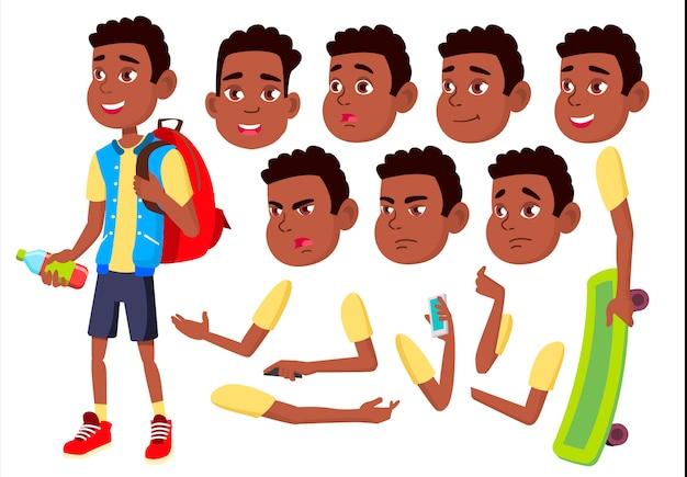 Kind jongen karakter. afrikaanse. creatie constructor voor animatie. gezichtsemoties, handen. Premium Vector