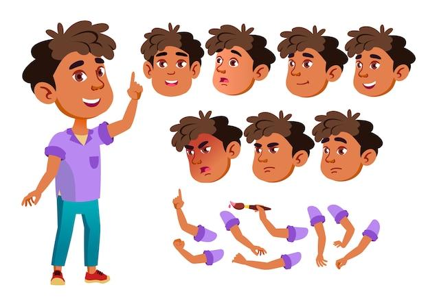 Kind jongen karakter. arab. creatie constructor voor animatie. gezichtsemoties, handen. Premium Vector