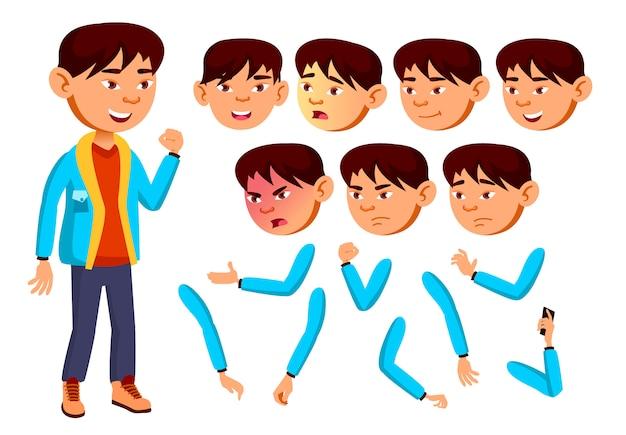 Kind jongen karakter. aziatische. creatie constructor voor animatie. gezichtsemoties, handen. Premium Vector