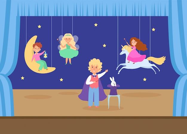 Kind karakter spelen jonge school theater illustratie. kinderen magische prestaties, jongen tovert meisje eenhoorn vrouwelijke fee. Premium Vector