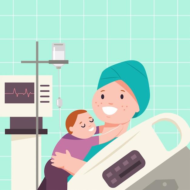 Kind knuffelt een moeder met kanker. vector cartoon platte medische illustratie van patiënten in een ziekenhuis kamer. Premium Vector