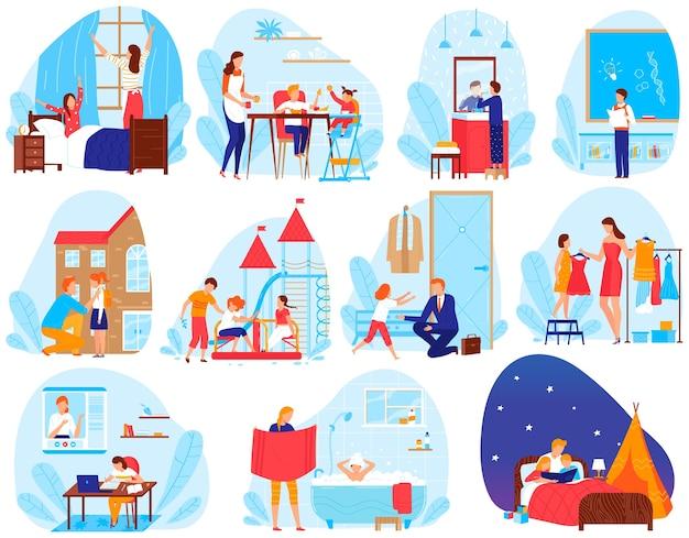 Kind levensstijl dagelijkse routine vector illustratie set, cartoon plat elke dag leven scènes met schoolkinderen en ouders Premium Vector