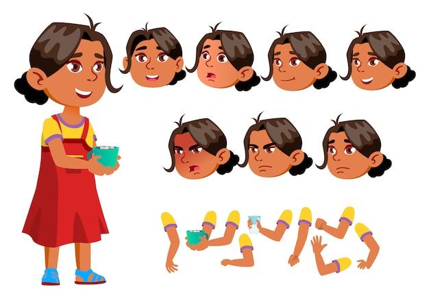 Kind meisje karakter. arab. creatie constructor voor animatie. gezichtsemoties, handen. Premium Vector