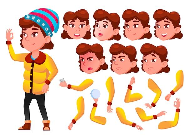 Kind meisje karakter. europese. creatie constructor voor animatie. gezichtsemoties, handen. Premium Vector