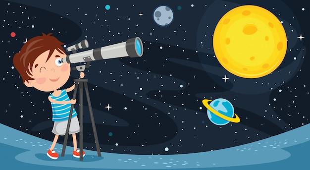 Kind met behulp van telescoop voor astronomisch onderzoek Premium Vector