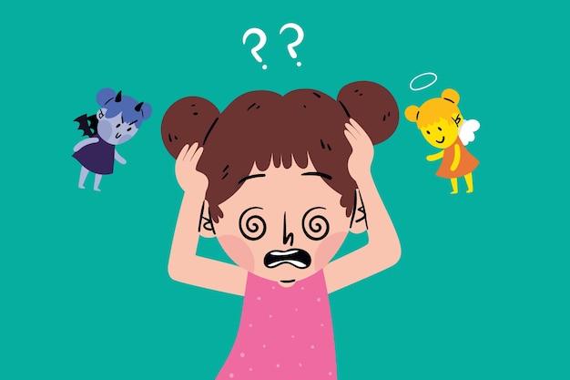 Kind met een ethisch dilemma Gratis Vector