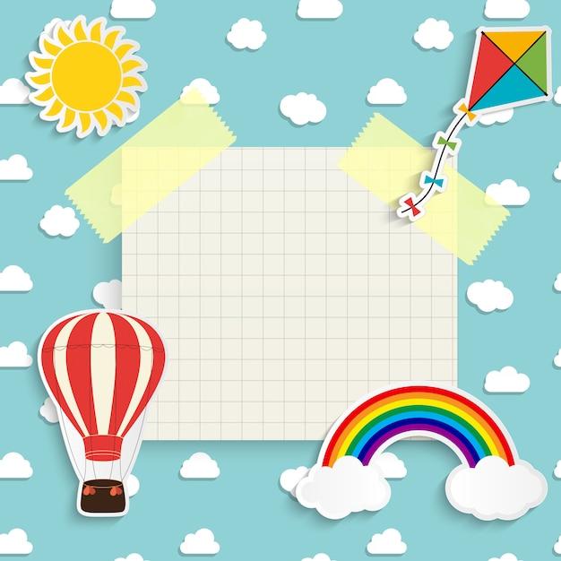 Kind met regenboog, zon, wolk, vlieger en ballon. plaats voor tekst. illustratie Premium Vector