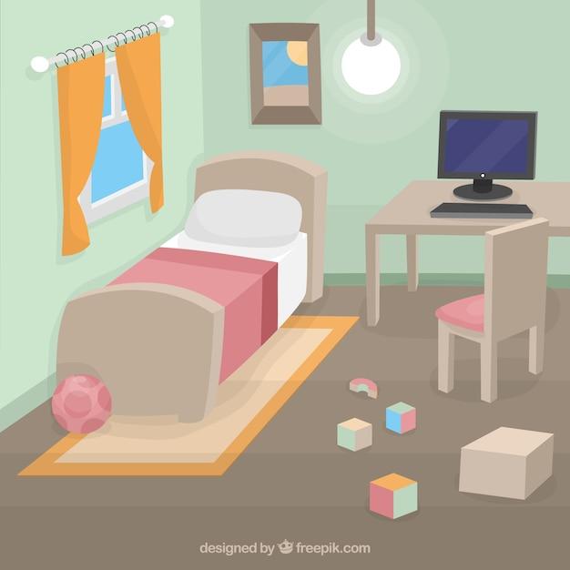 kind slaapkamer gratis vector