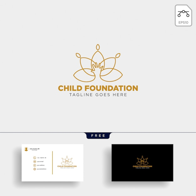 Kind stichting logo sjabloon Premium Vector