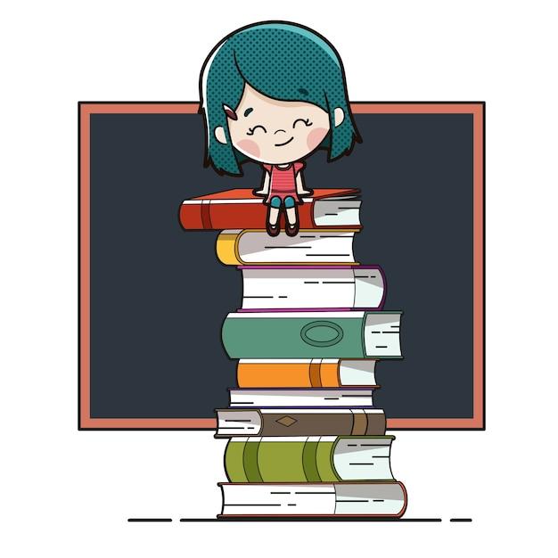 Kind zittend op boeken met een schoolbord Premium Vector
