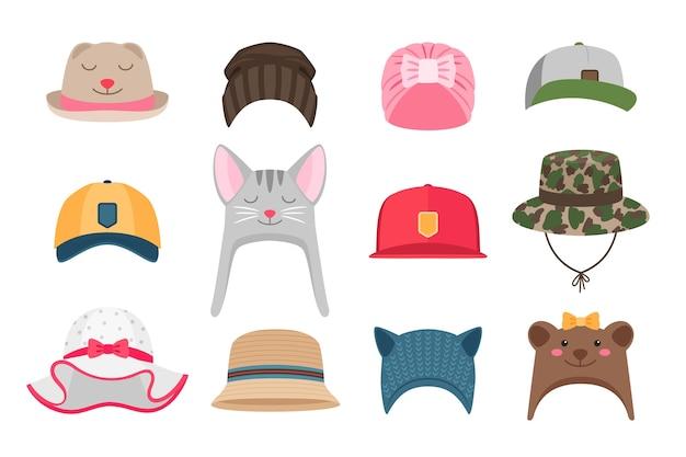 Kinder hoeden illustraties. hoedenset voor kinderen, winter en zomer, met dieren voor meisjes en geïsoleerde padvinders Premium Vector