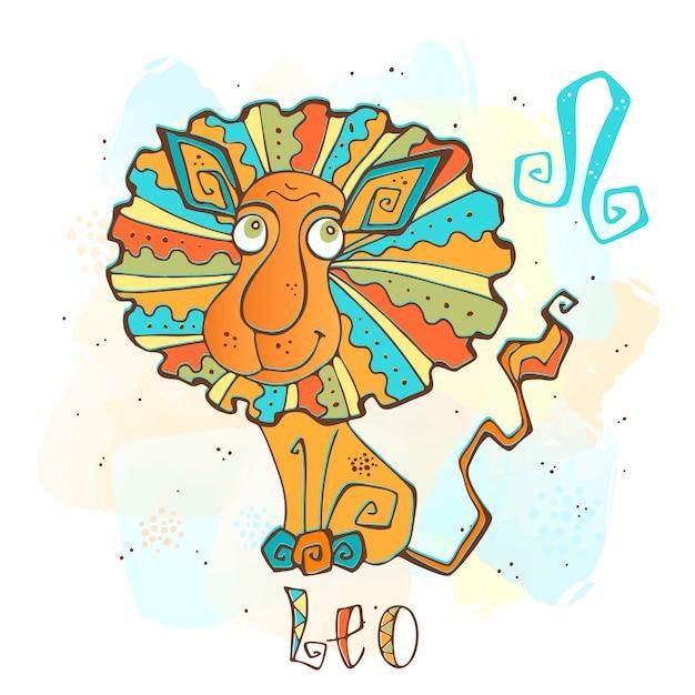 Kinder horoscoop illustratie. zodiac voor kinderen. leo teken Premium Vector