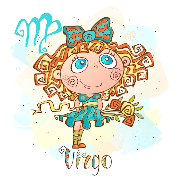 Kinder horoscoop illustratie. zodiac voor kinderen. maagd teken Premium Vector