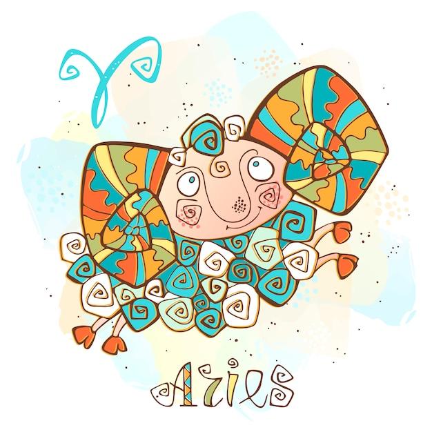 Kinder horoscoop illustratie. zodiac voor kinderen. ram teken Premium Vector