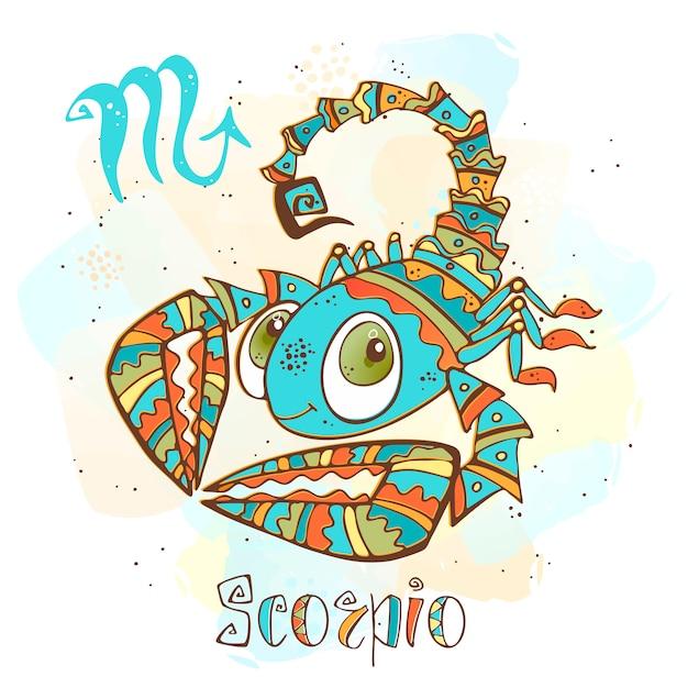 Kinder horoscoop illustratie. zodiac voor kinderen. schorpioen teken Premium Vector