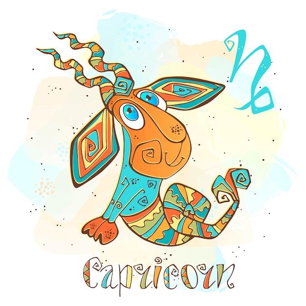 Kinder horoscoop illustratie. zodiac voor kinderen. steenbok teken Premium Vector