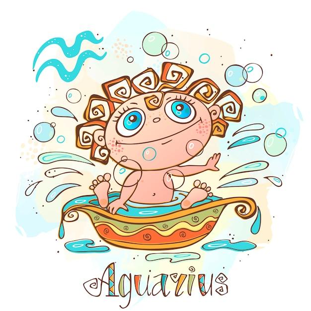 Kinder horoscoop illustratie. zodiac voor kinderen. waterman teken. Premium Vector