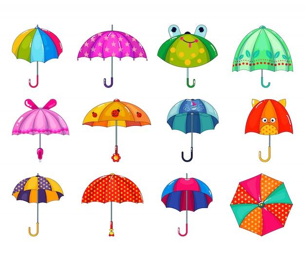 Kinder paraplu vector kinderachtig paraplu-vormige regenachtige bescherming open en kinderen gestippelde parasol illustratie set van kinderlijke beschermende dekking geïsoleerd. Premium Vector