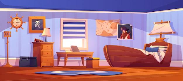Kinder slaapkamer interieur in thematische piraat Gratis Vector