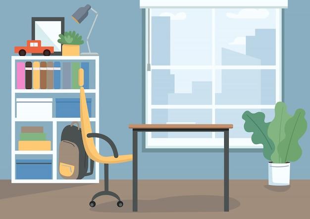 Kinder slaapkamer kleur illustratie. kinderkamer met boeken en speelgoed op planken. bureau en stoel als studieplek. woonkamer cartoon interieur met decor op achtergrond Premium Vector