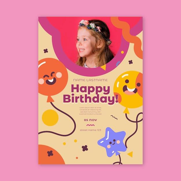Kinder verjaardag flyer verticaal Gratis Vector
